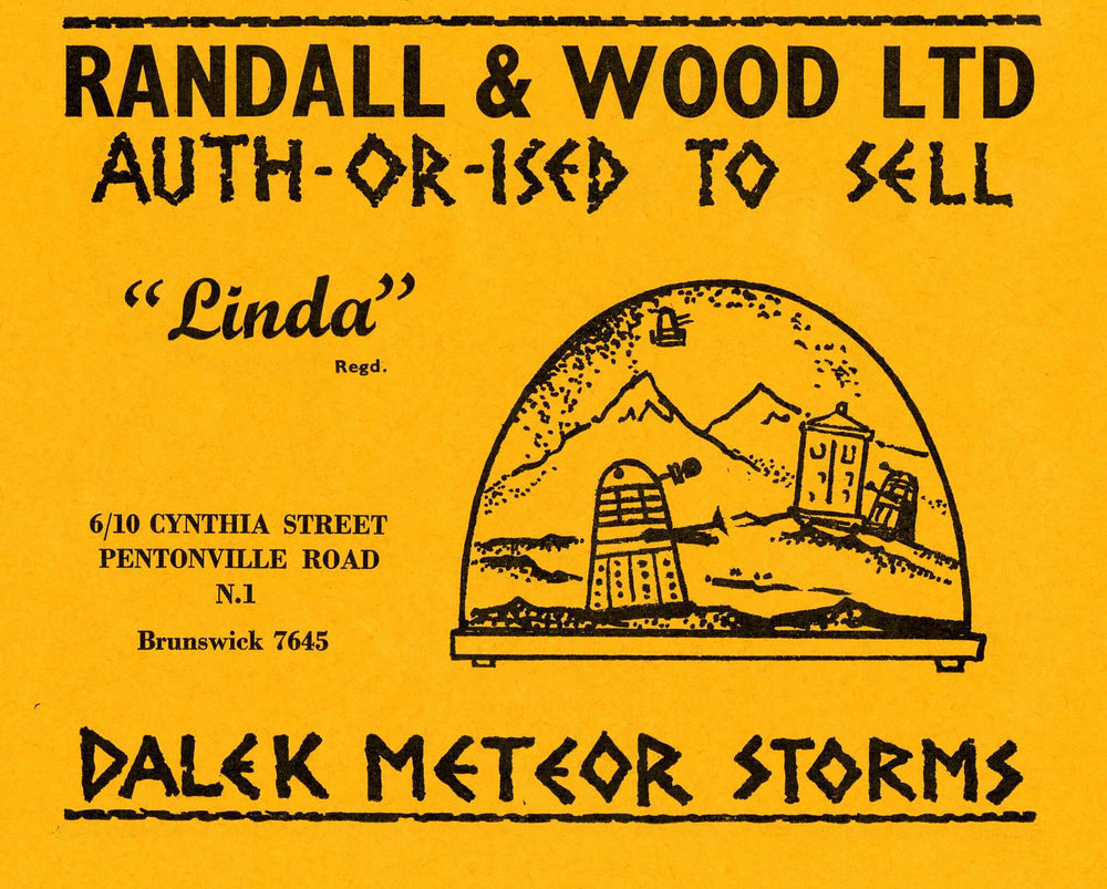 Ad. for Randall and Wood Dalek Meteor Storm in the Supplement to Games and Toys, September 1965