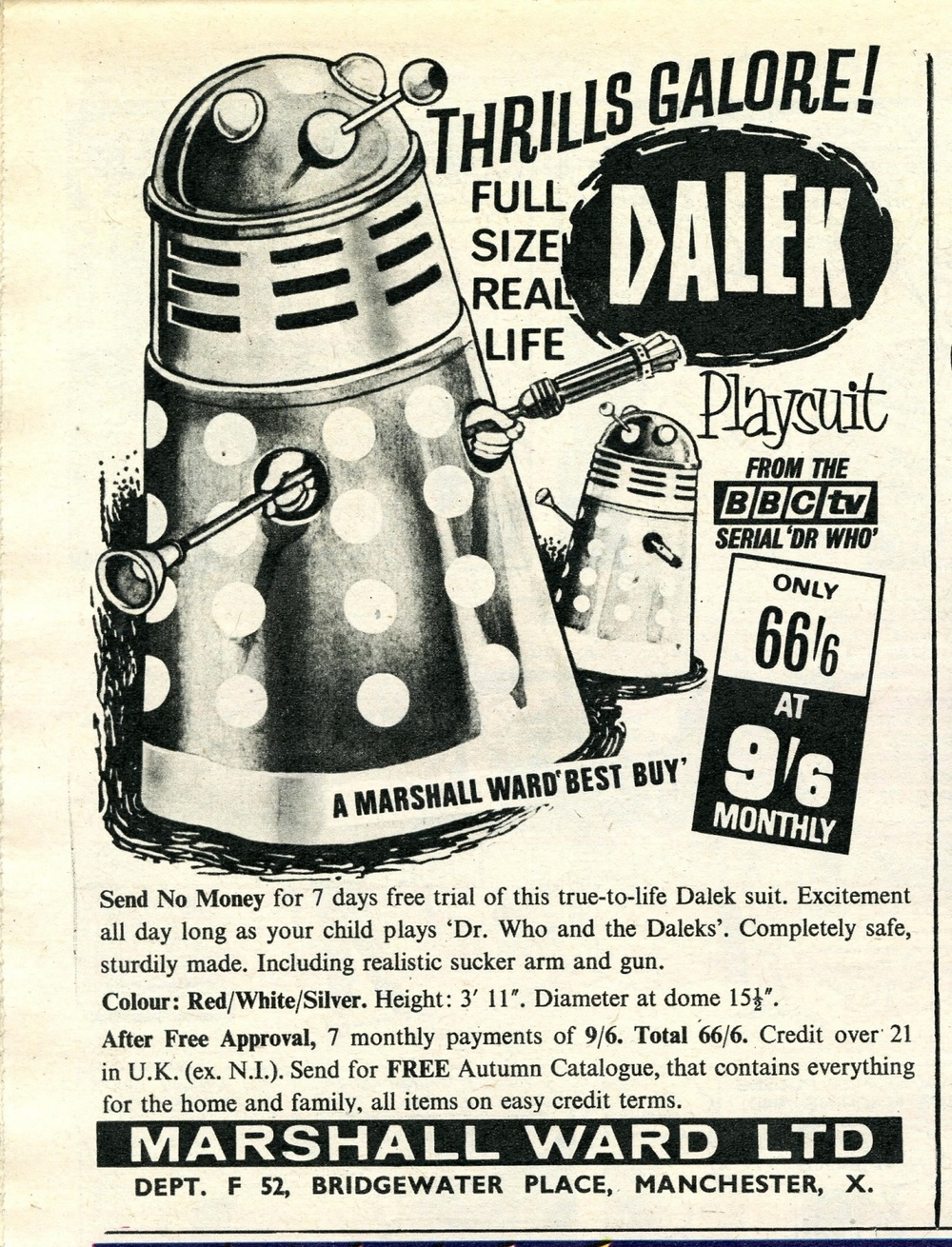 Ad. for Berwick's Toy Co. Ltd. Dalek playsuit from Marshall Ward Ltd. in TV Century 21 no. 41, 30 October 2065 (1965)