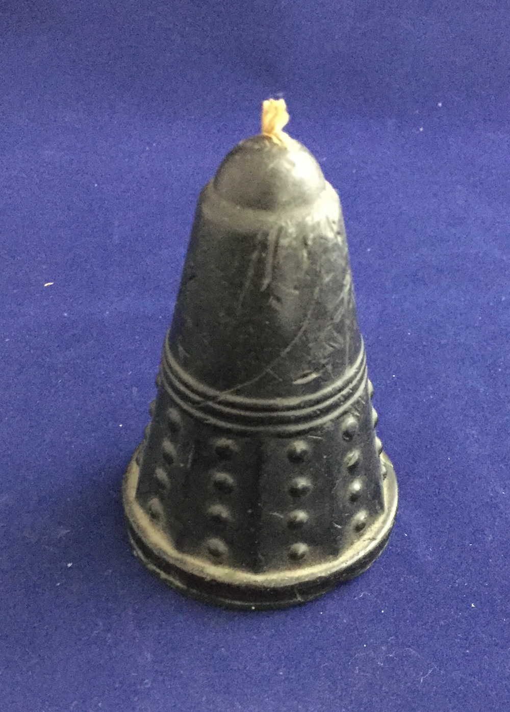 Dalek candle (spherical globes suggest this is not cast from a Hi-Ball ice cream container; however, uncertain whether this is the licensed candle from Candle Art Ltd.)