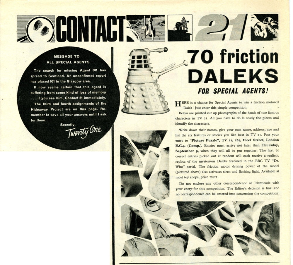 Competition to win Louis Marx and Company Ltd. friction-drive Daleks in TV Century 21 #33, 4 September 2065 (1965)