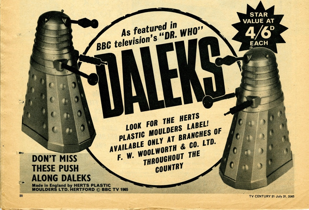 Ad. for Herts Plastic Moulders Ltd. Daleks in TV Century 21 #28, 31 July 2065 (1965)