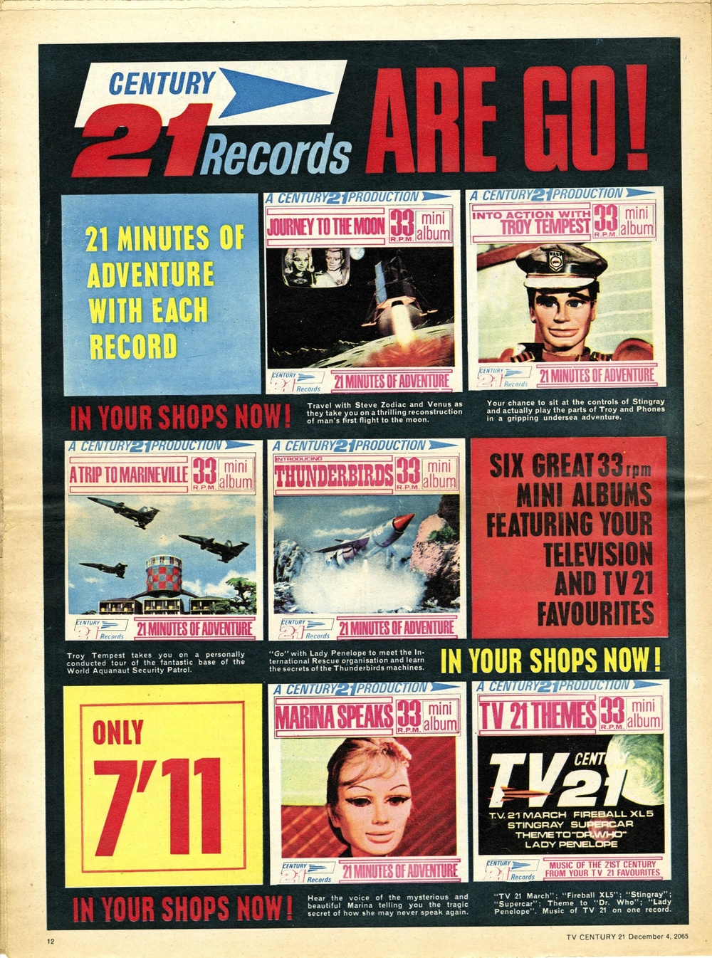 Ad. for Century 21 Records TV 21 Themes, including a version of the theme to Doctor Who published in TV Century 21 #46, 4 December 2065 (1965)