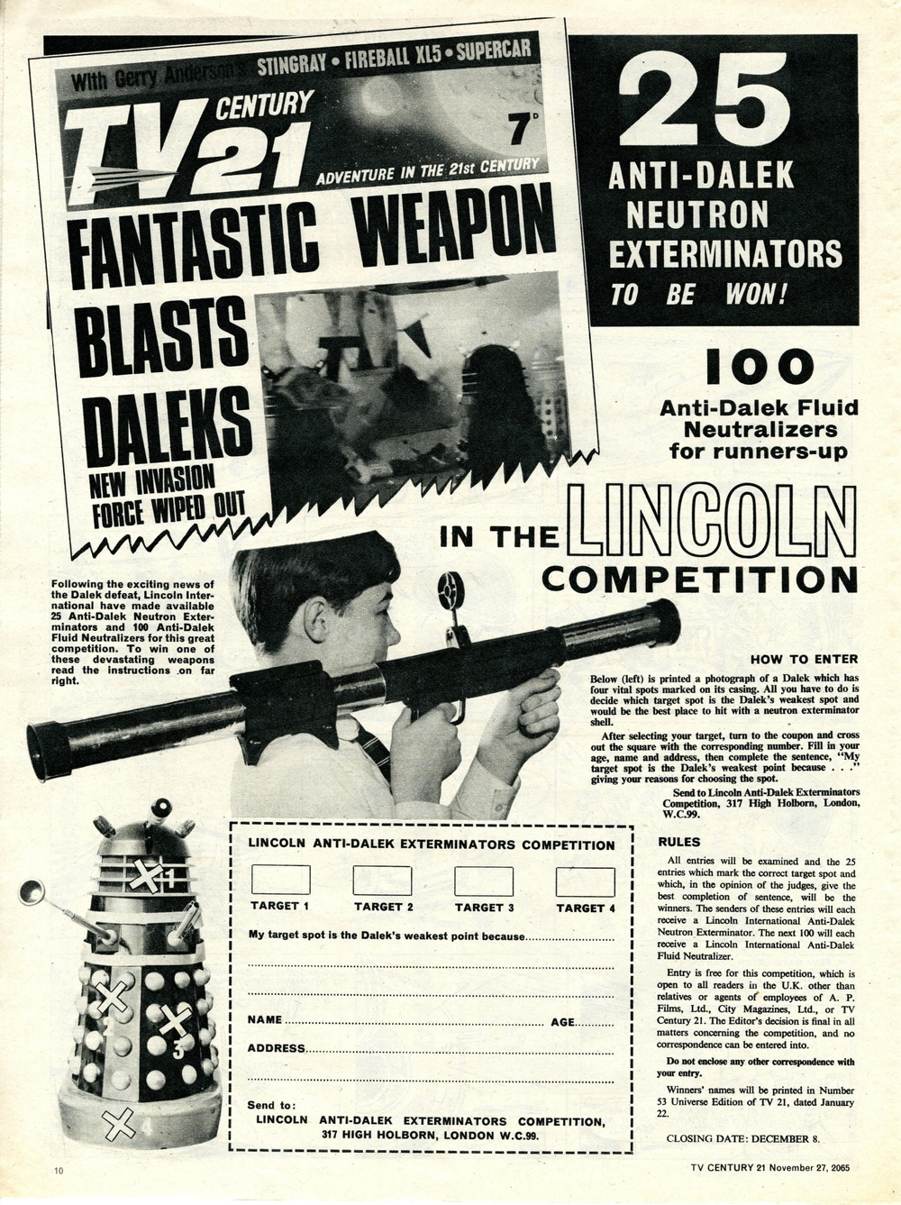 Competition to win the Lincoln International Ltd. Anti-Dalek Neutron Exterminator in TV Century 21 #43, 13 November 2065 (1965)