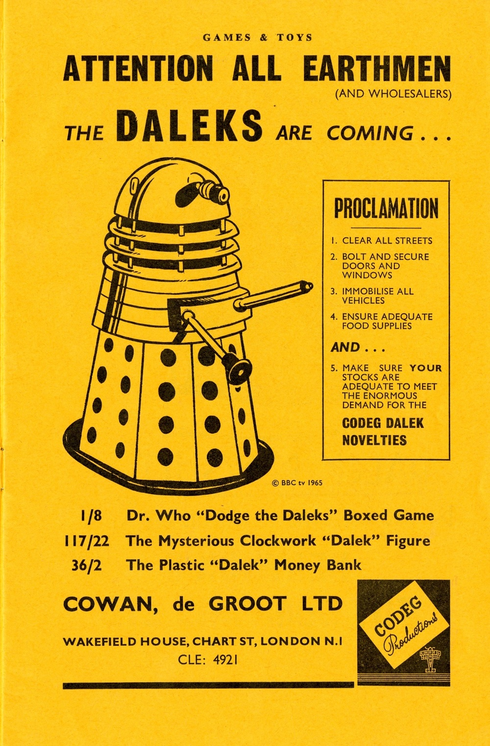 Ad. for the Cowan, de Groot Codeg Dalek toys from the Supplement to Games and Toys, September 1965