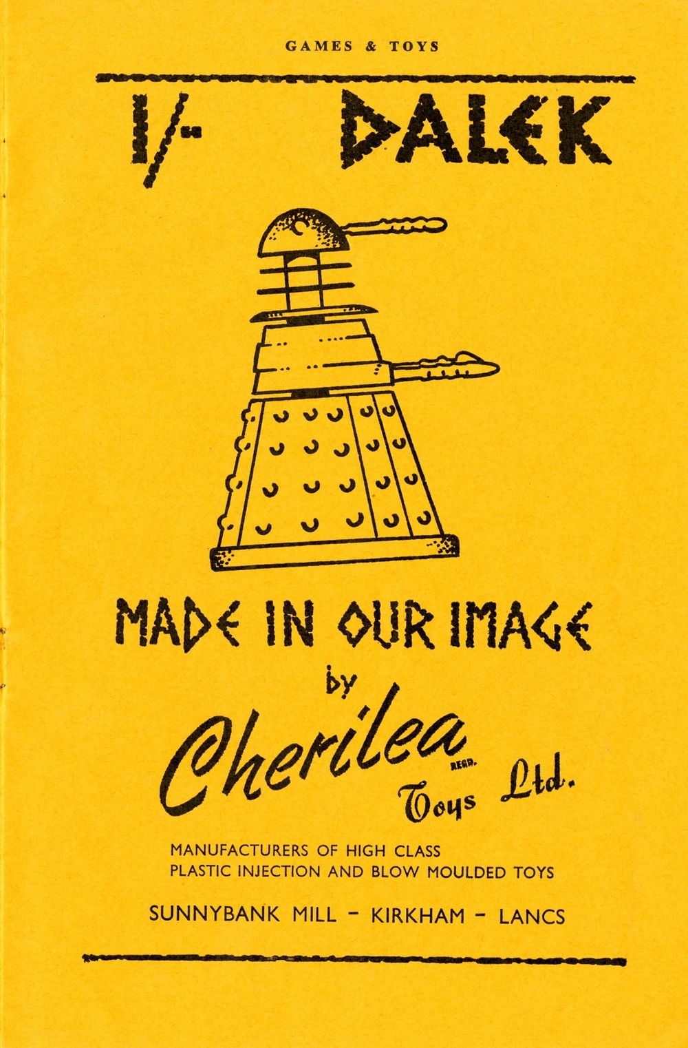 Ad. for Cherilea Toys Ltd. Dalek Swap-Its from the Supplement to Games and Toys, September 1965