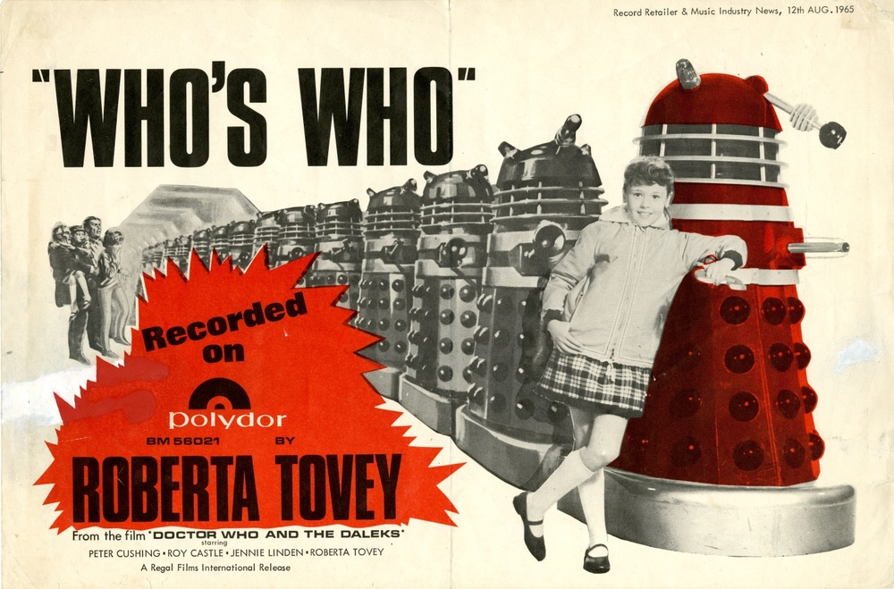 Polydor promotional shop poster for Who's Who by Roberta Tovey, released with Record Retailer and Music Industry News, 12 August 1965