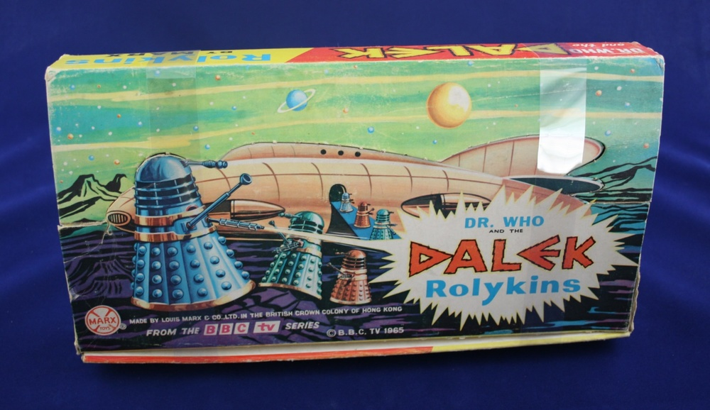 Point-of-sale display box for Louis Marx and Company Ltd. Dalek Rolykins