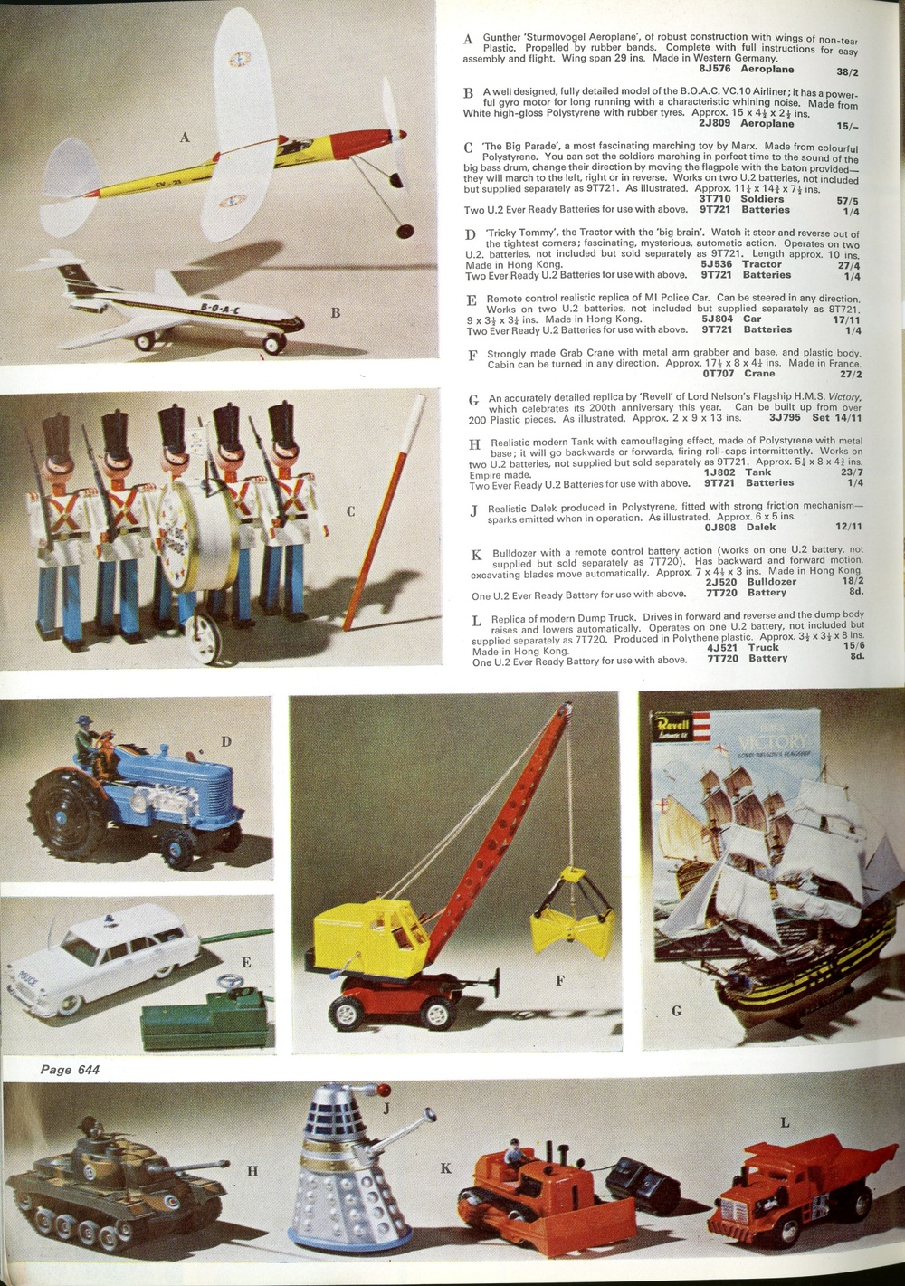 Grattans Winter 1965 catalogue showing a Louis Marx and Company Ltd. friction-drive Dalek