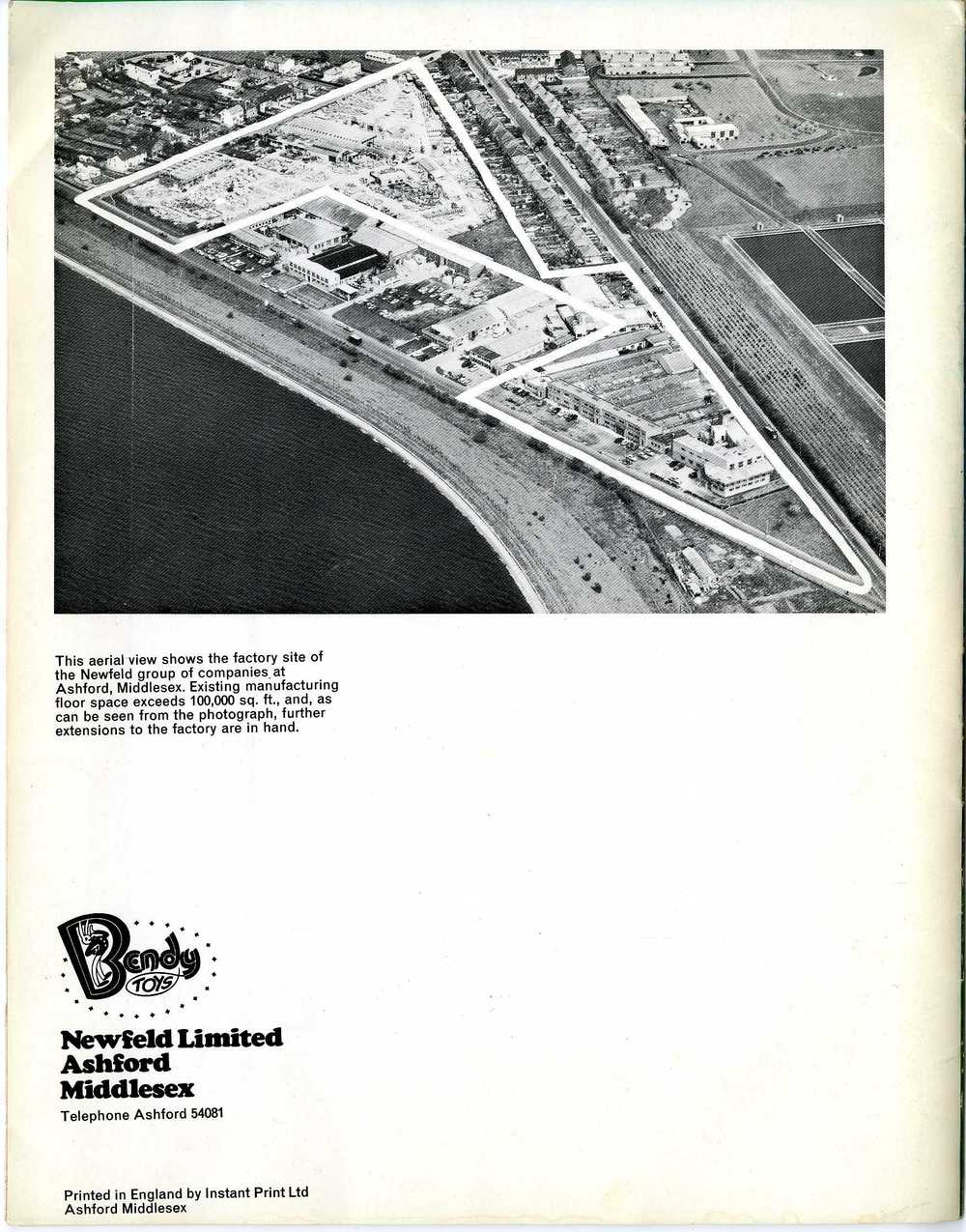 Aerial photograph of the Bendy Toy factory from the Newfeld Ltd. 1967 Annual Report