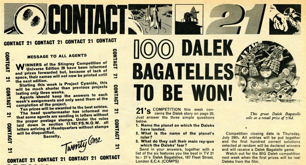 TV Century 21 #27, 24 July 2065 (1965) with competition giving Dalek Bagatelles as prizes
