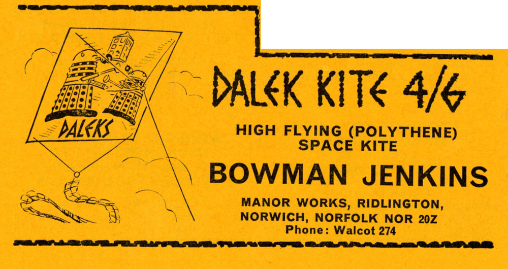 Ad. for Bowman Jenkins Dalek Kite in the Supplement to Games and Toys, September 1965