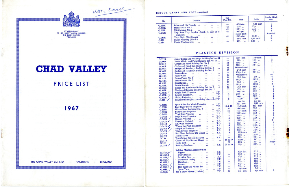 Chad Valley Ltd. 1967 price list showing trade price of the Doctor Who Give-A-Show Projector