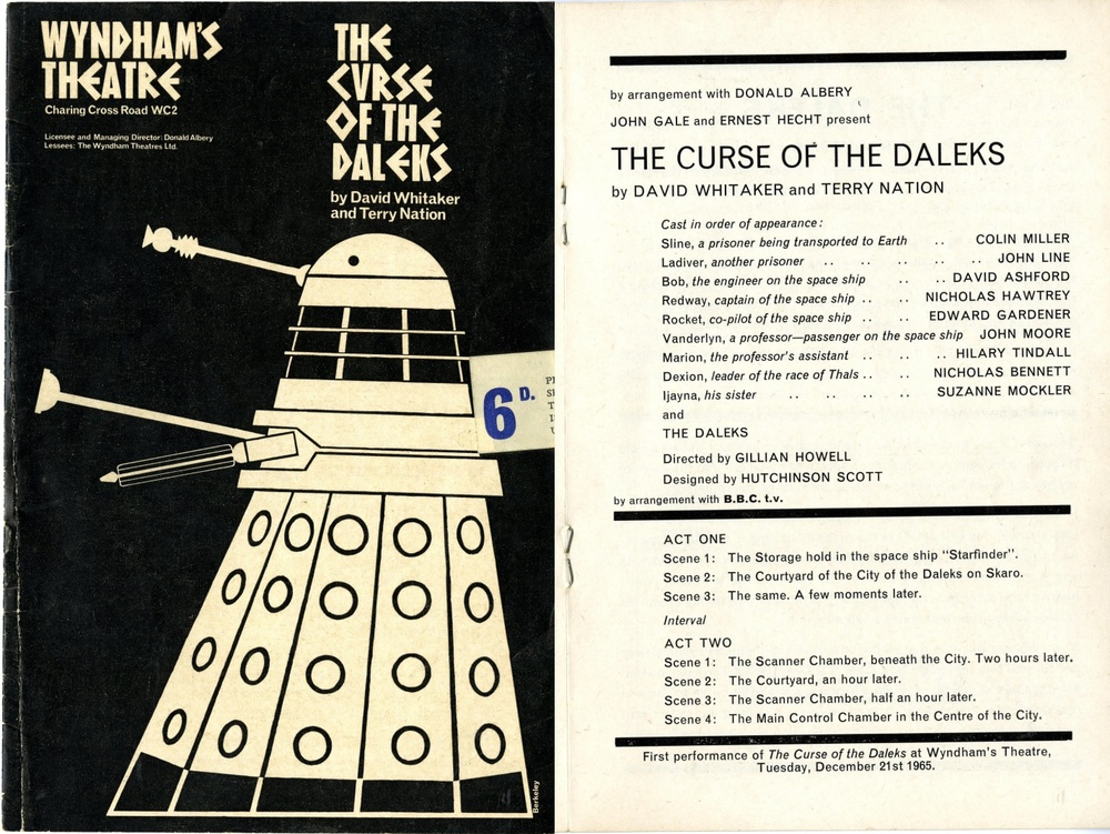 The Curse of the Daleks theatre programme (front cover and cast list)