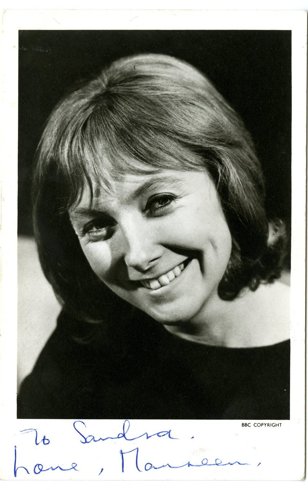 Maureen O'Brien as Vicki, BBC Television promotional cast card