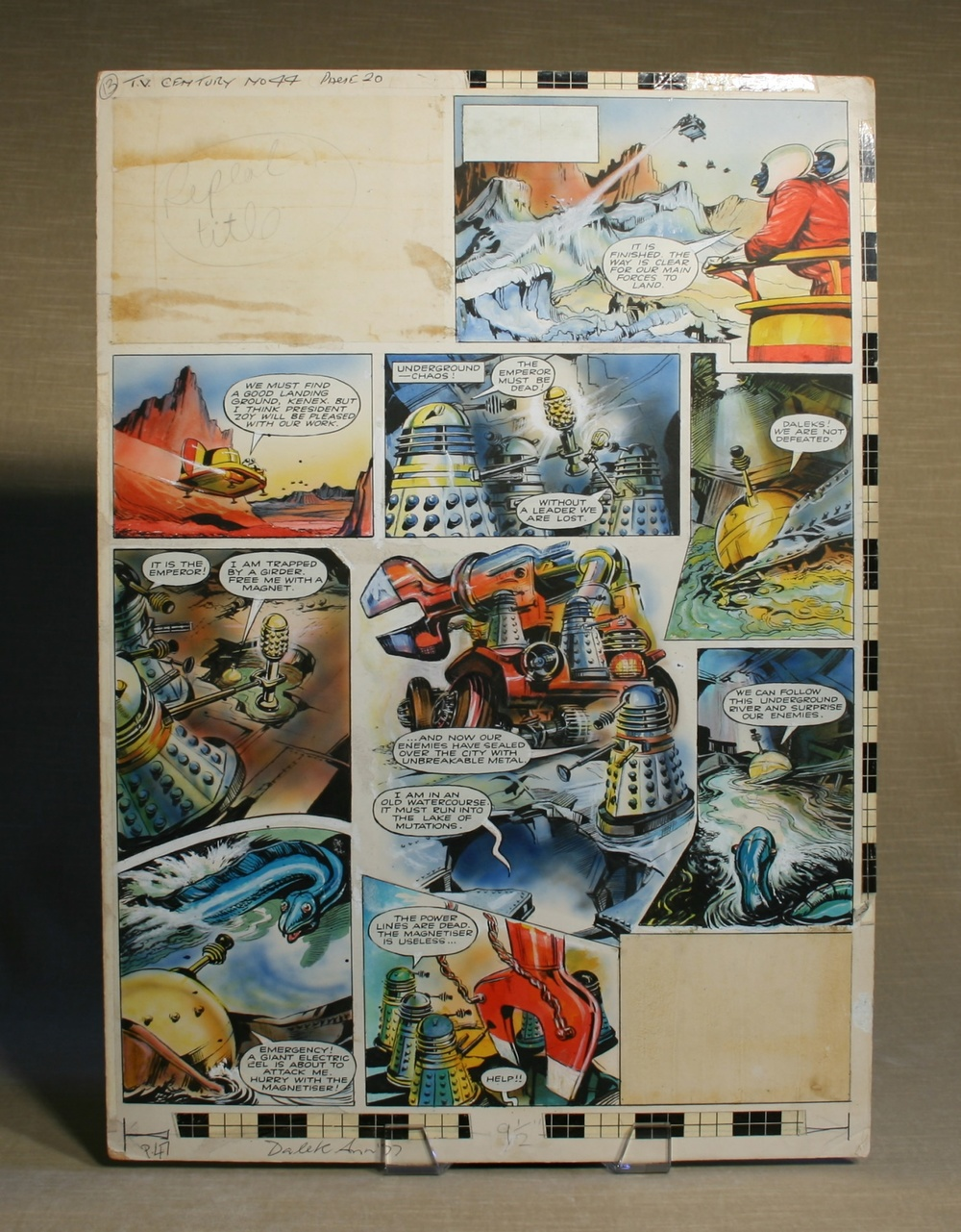 Original Dalek strip artwork, TV Century 21 #44