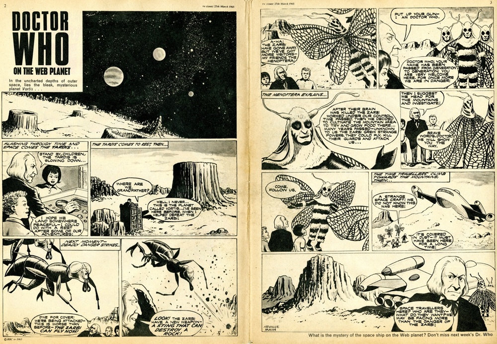 TV Comic #693, March 27, 1965 (first strip to feature the Zarbi and Menoptera on the Web Plant)