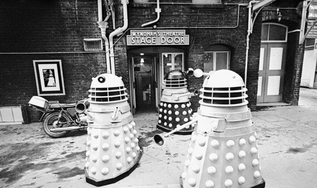 Publicity photo for The Curse of the Daleks, with Daleks outside Wyndham's Theatre
