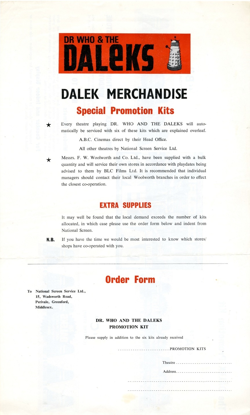 National Screen Service Dalek merchandise promotion kit flier (front)