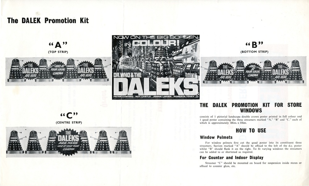 National Screen Service Dalek merchandise promotion kit flier (back)