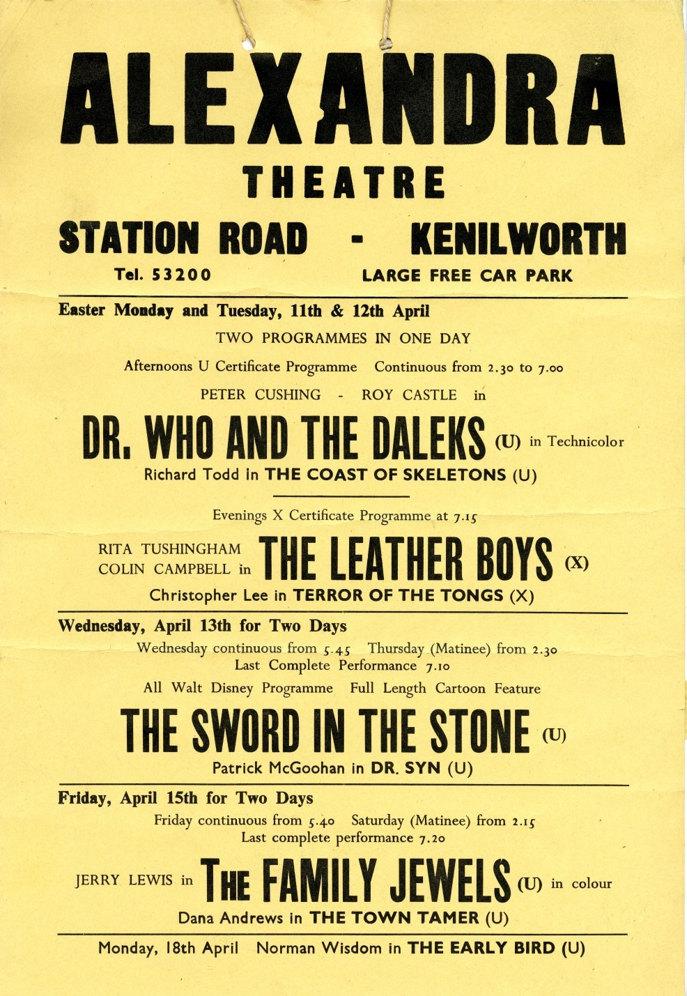 Playbill, Alexandra Theatre, Kenilworth