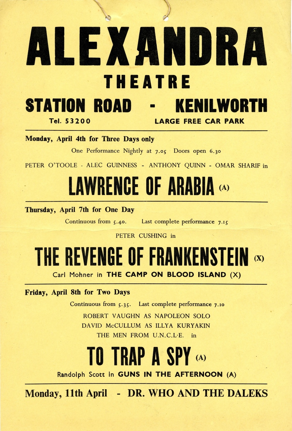 Advance Notice Playbill, Alexandra Theatre, Kenilworth