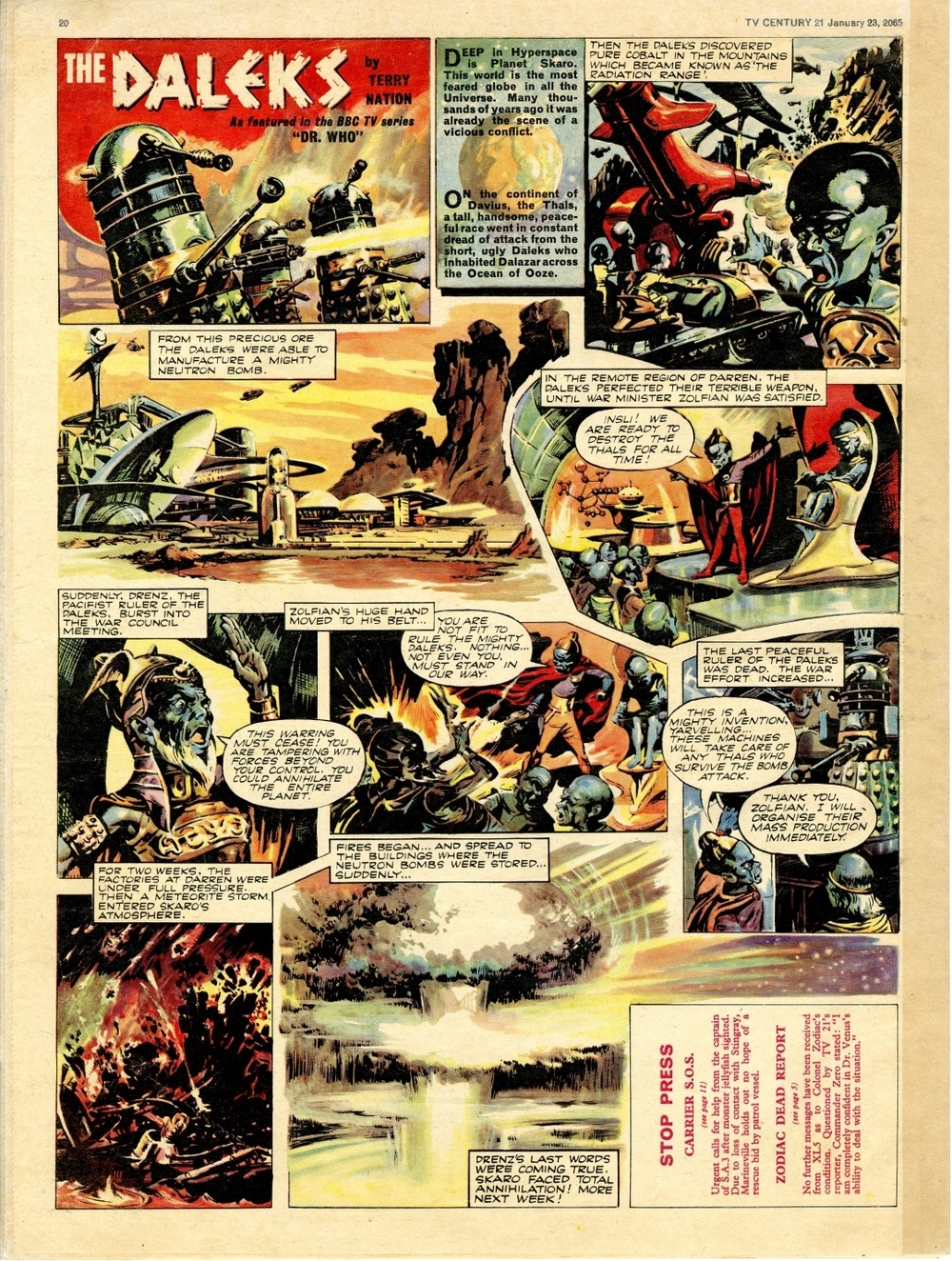 TV Century 21 #1, January 23, 2065 (1965); first Dalek strip