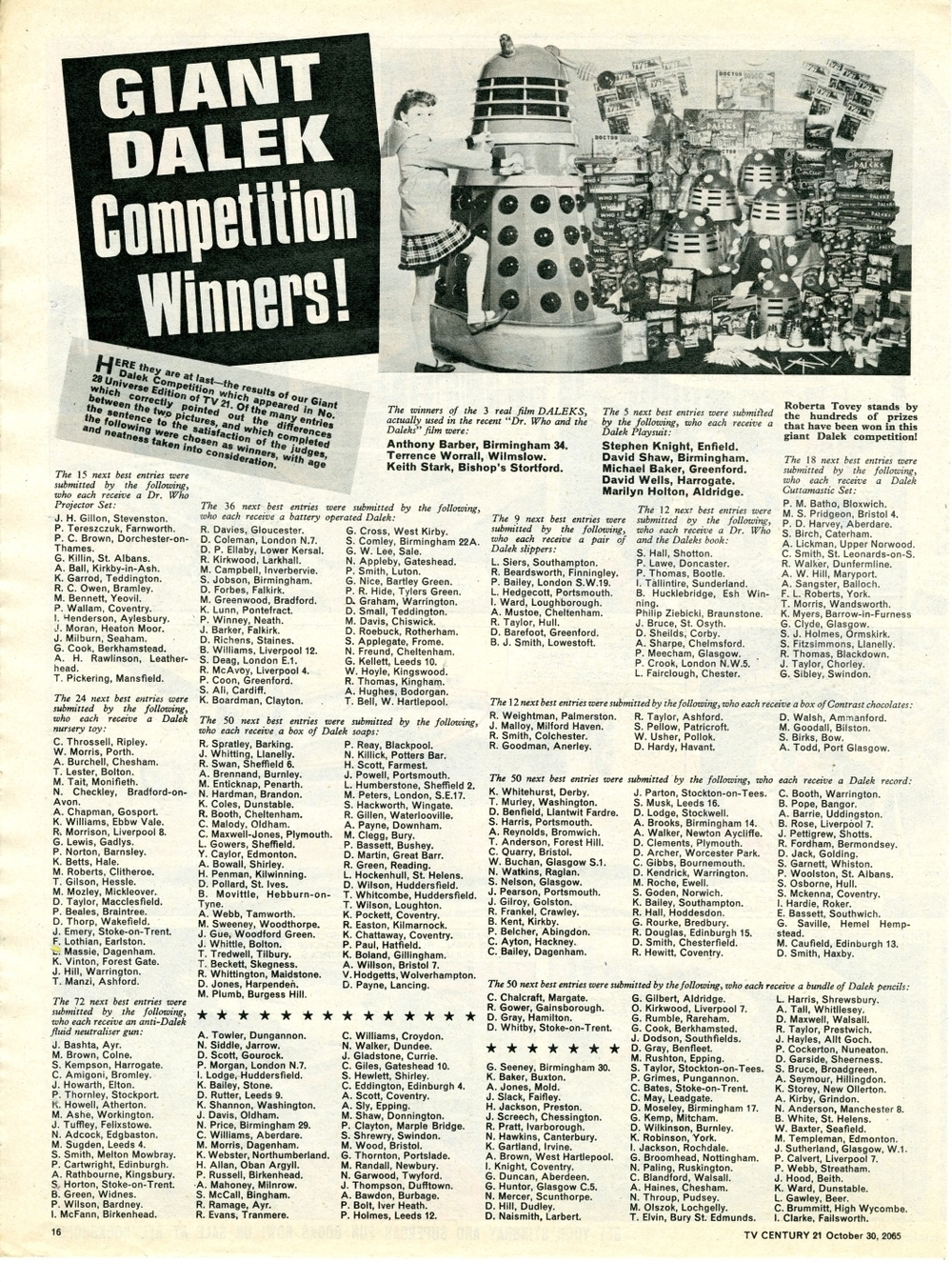TV Century 21 no. 41, Dalek Competition Winners, 30 October 2065 (1965)