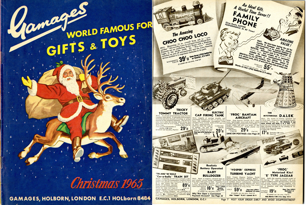 Ad. for the Louis Marx & Company Ltd. battery-operated Dalek in the Gamages Christmas 1965 catalogue