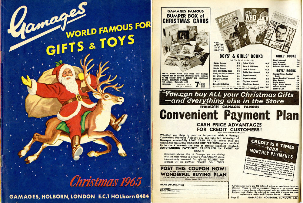 Ad. for the Dr. Who Annual 1965 in the Gamages Christmas 1965 catalogue