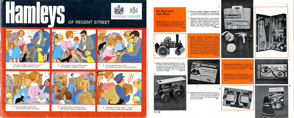 Hamleys 1966 catalogue showing a Louis Marx and Company Ltd. battery-operated Dalek