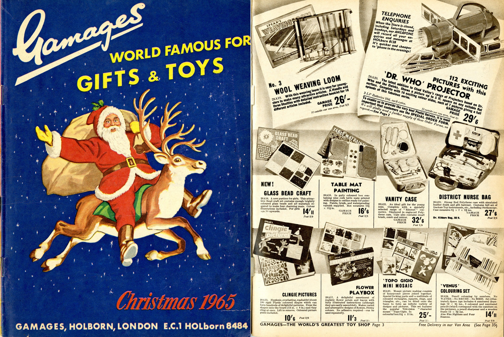Gamages Christmas 1965 catalogue with ad. for Chad Valley Dr. Who Give-A-Show Projector
