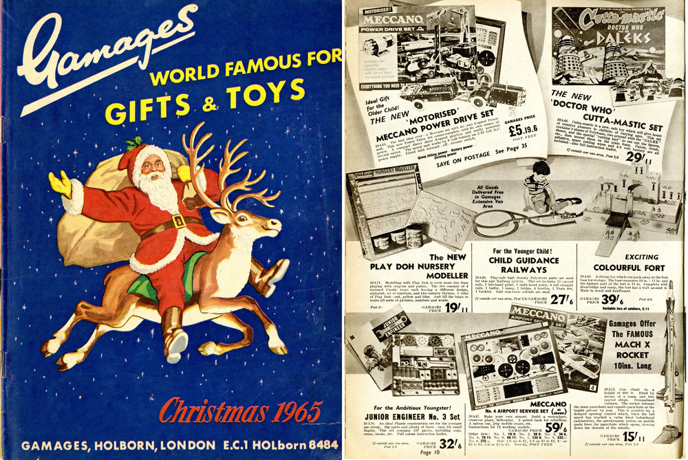 Gamages Christmas 1965 catalogue featuring an ad. for the Bell Toys Ltd. large Doctor Who and the Daleks Cutta-Mastic