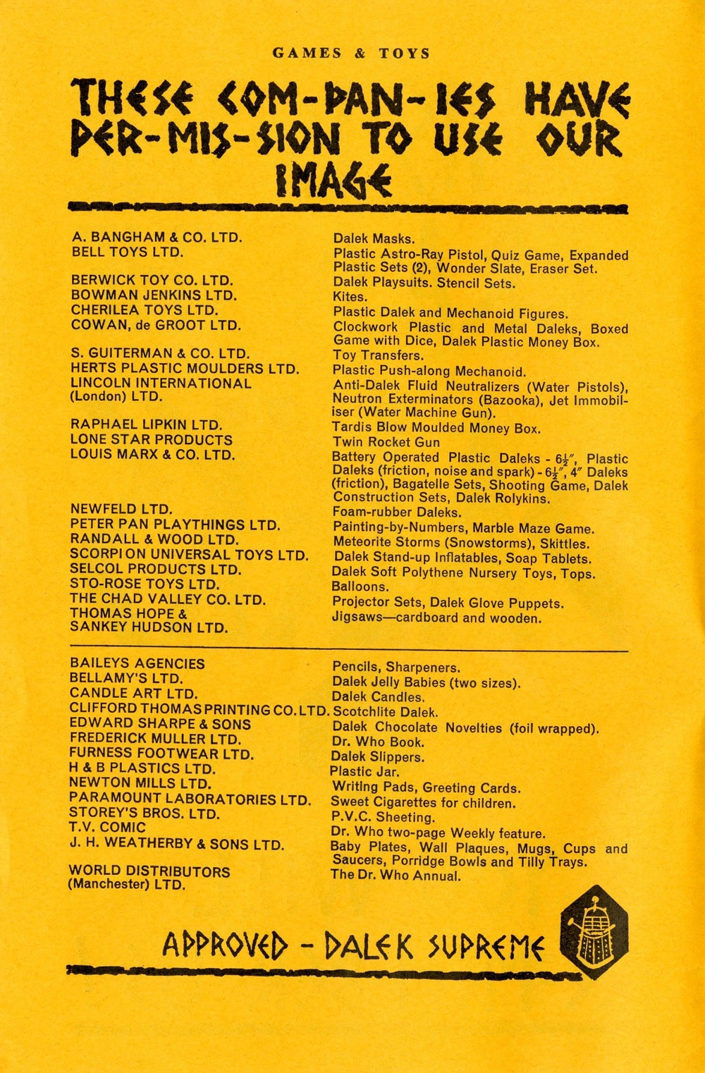 Supplement to Games and Toys, September 1965, list of merchandise licensees