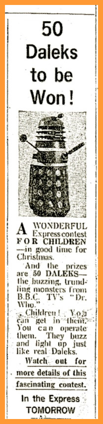 WANTED - Daily Express, 9 December 1964 with a Name a Dalek competition article