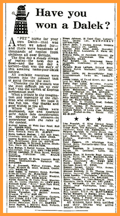 WANTED - Daily Express, 21 December 1964 with a Name a Dalek competition article