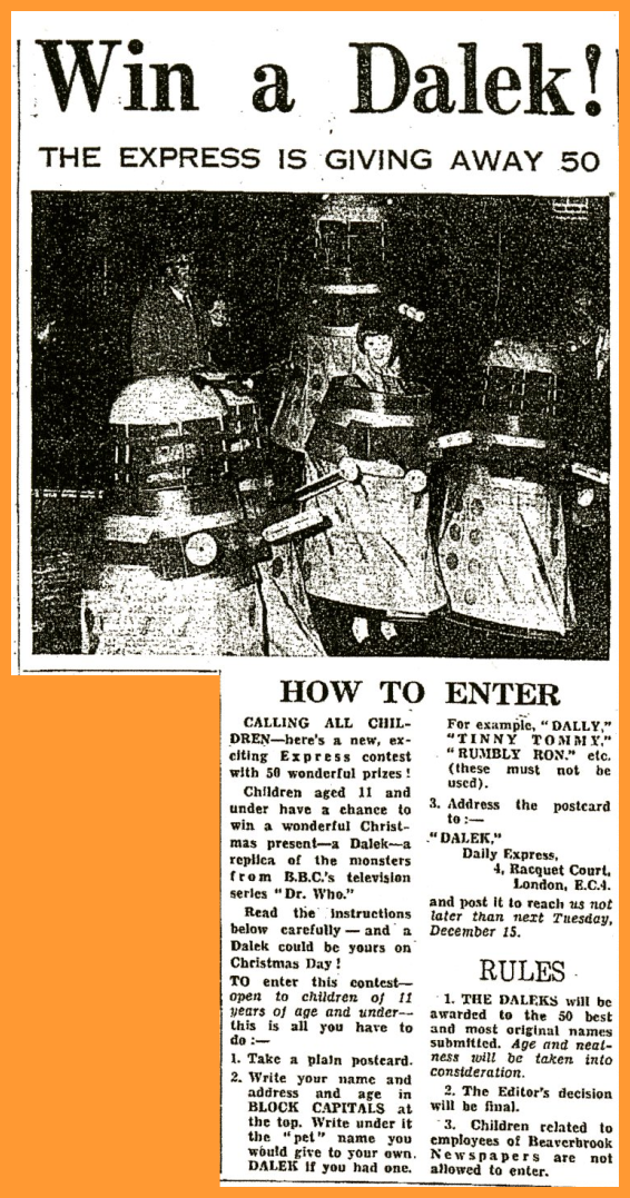WANTED - Daily Express, 12 December 1964 with a Win a Dalek competition article