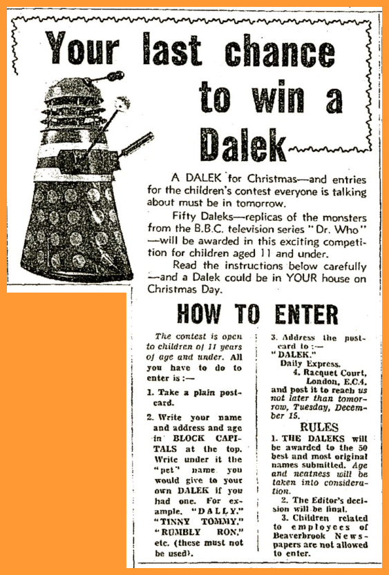 WANTED - Daily Express, 14 December 1964 with a Win a Dalek competition article