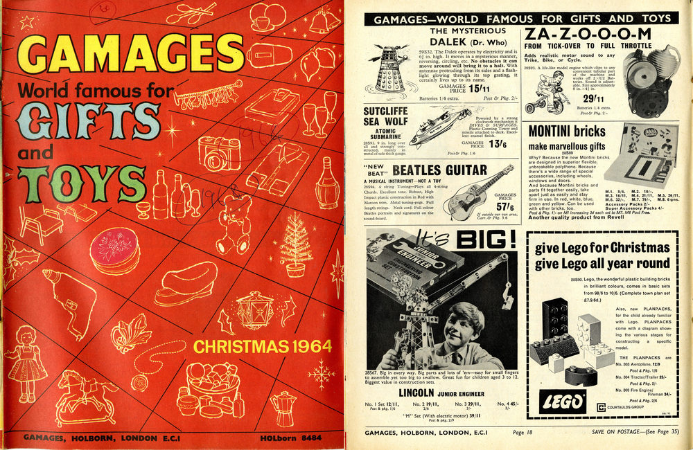 Gamages catalogue, Christmas 1964. Ad for Louis Marx and Company Battery-operated Dalek