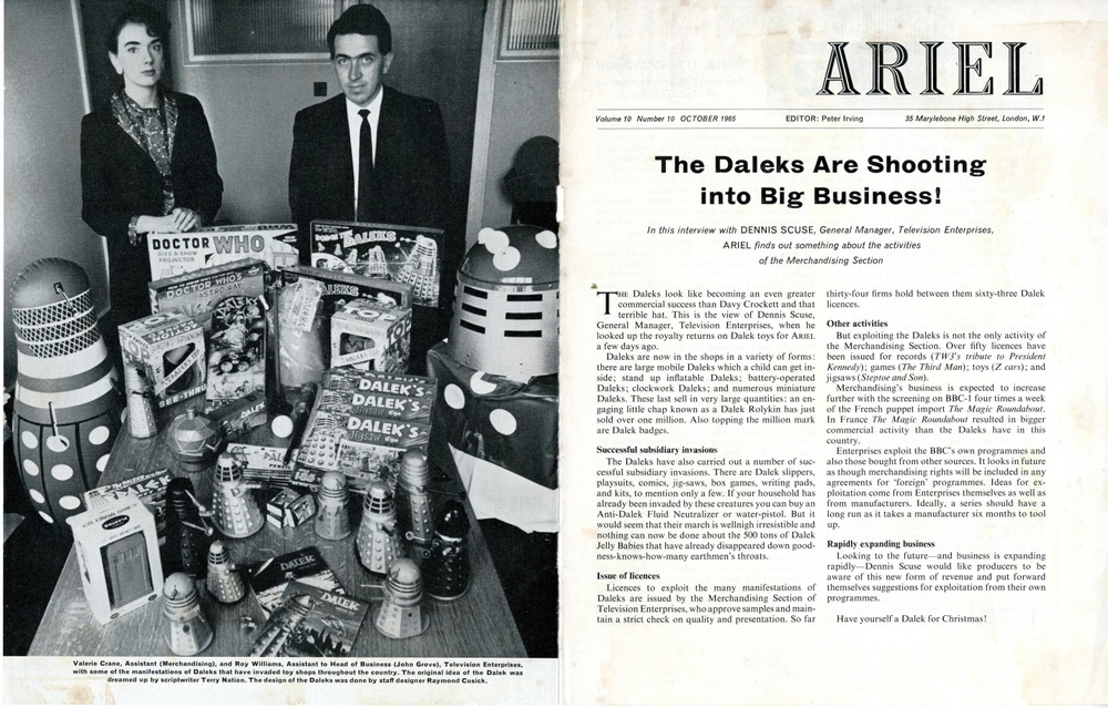 Article of Dalek merchandise in Ariel, Vol. 10, No. 10, October 1965, from the Ray Cusick cuttings collection