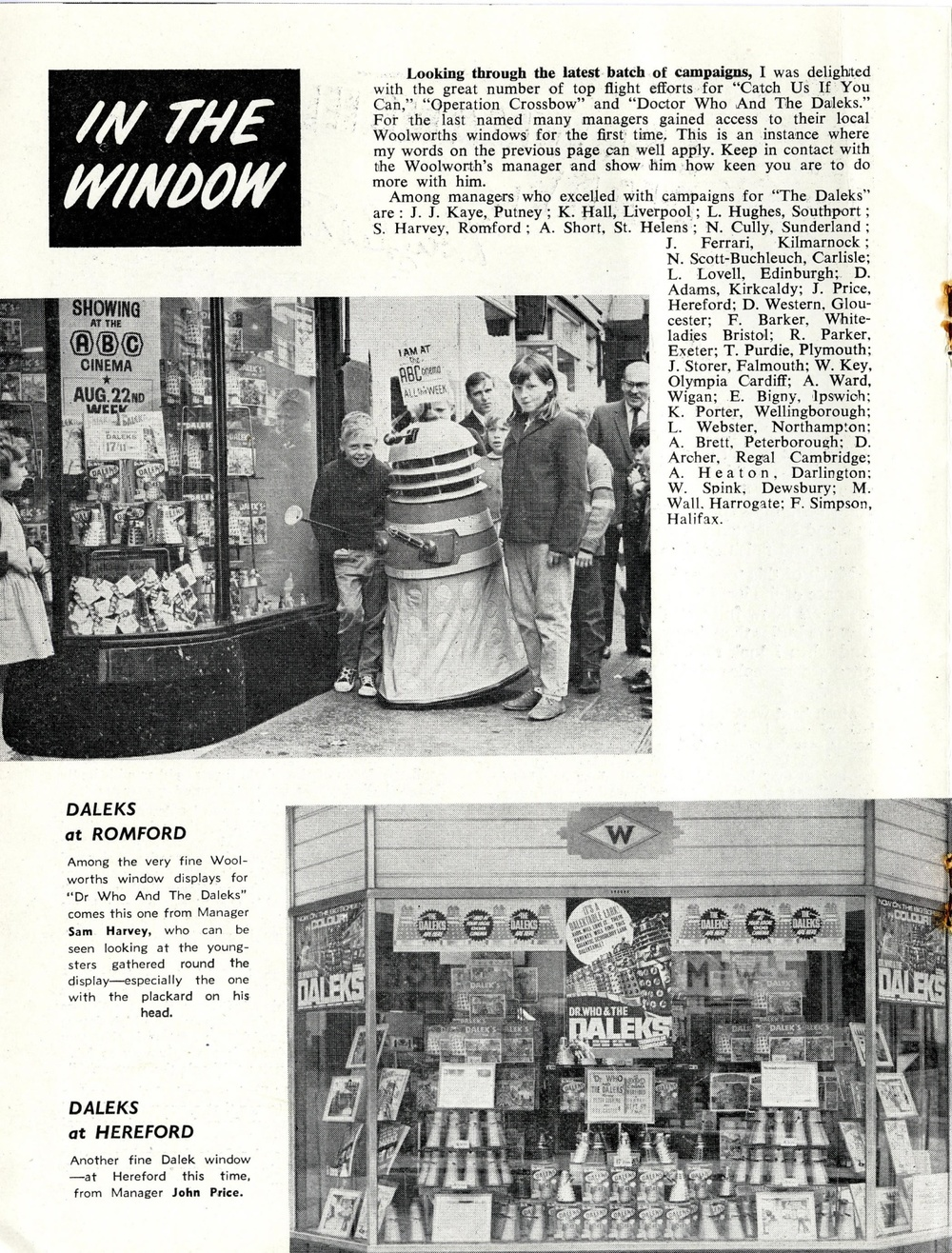 Article on promotional store tie-ins to the film Dr. Who and the Daleks in ABC News (ABC Minors Special), October 1965