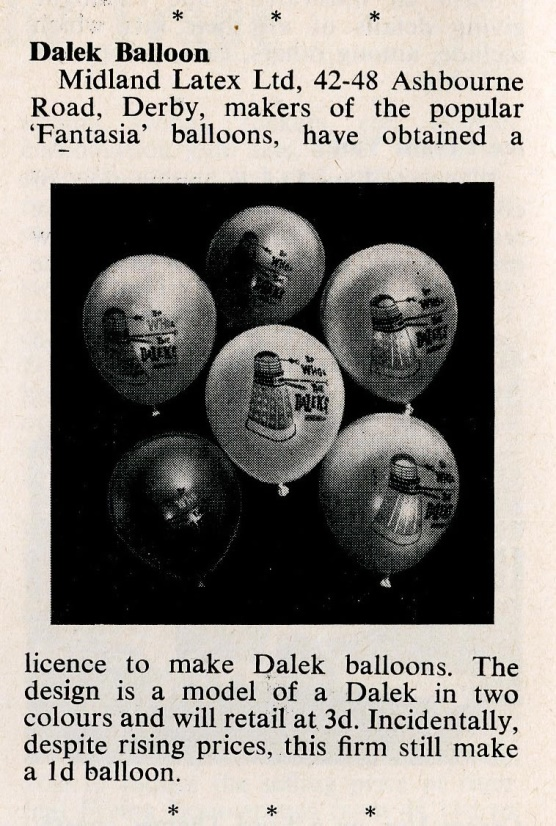 Article on Dalek balloons from Sto-Rose in Games and Toys, April 1965