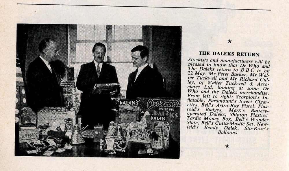 Article on Dalek merchandise in the May 1965 edition of Games and Toys to coincide with the return of the Daleks in The Chase