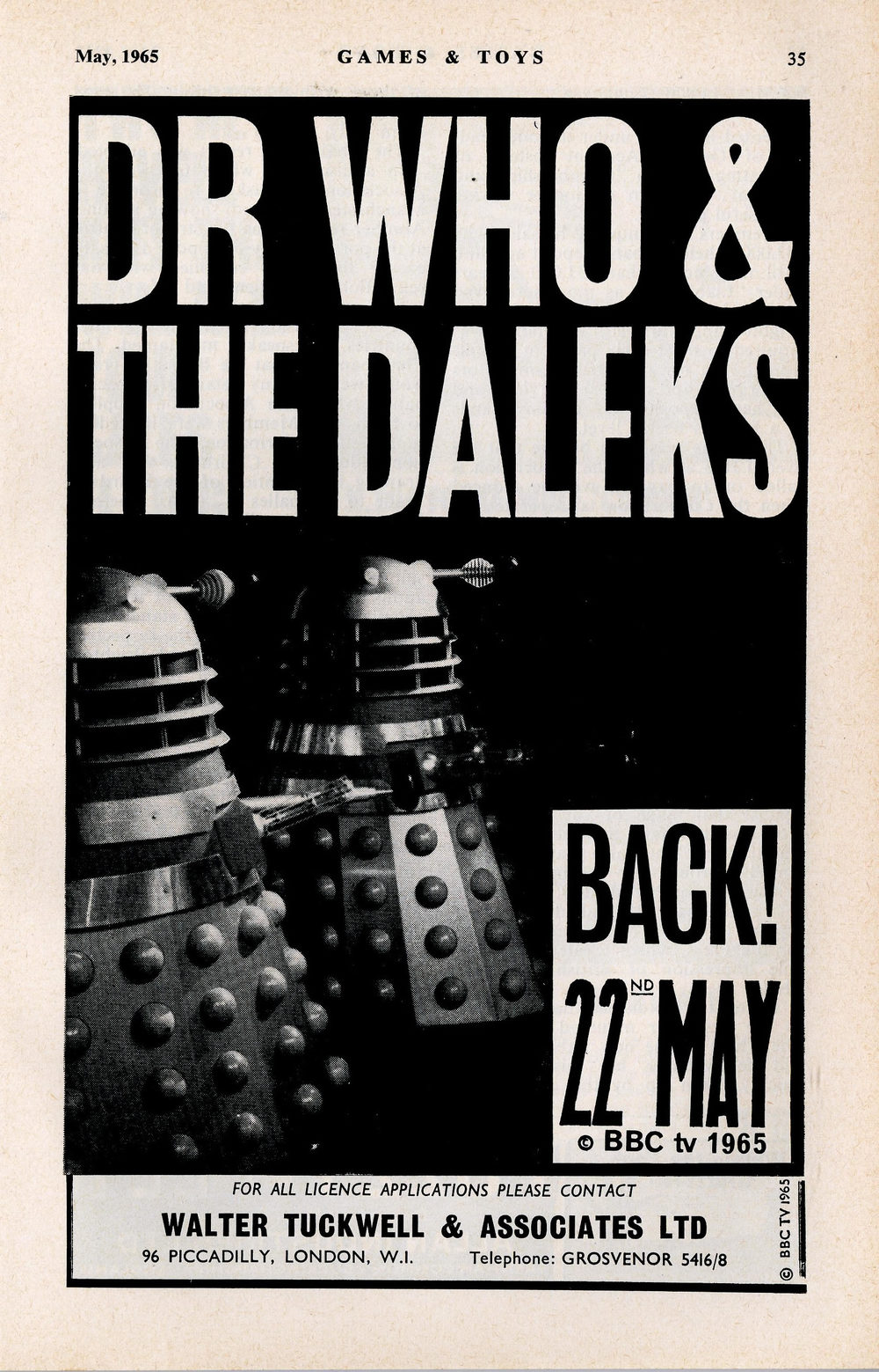License applications ad. from Walter Tuckwell & Associates in the May 1965 edition of Games and Toys to coincide with the return of the Daleks in The Chase