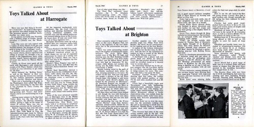 Article on Harrogate and Brighton Toy Fairs describing new Dalek merchandise in Games and Toys, March 1965