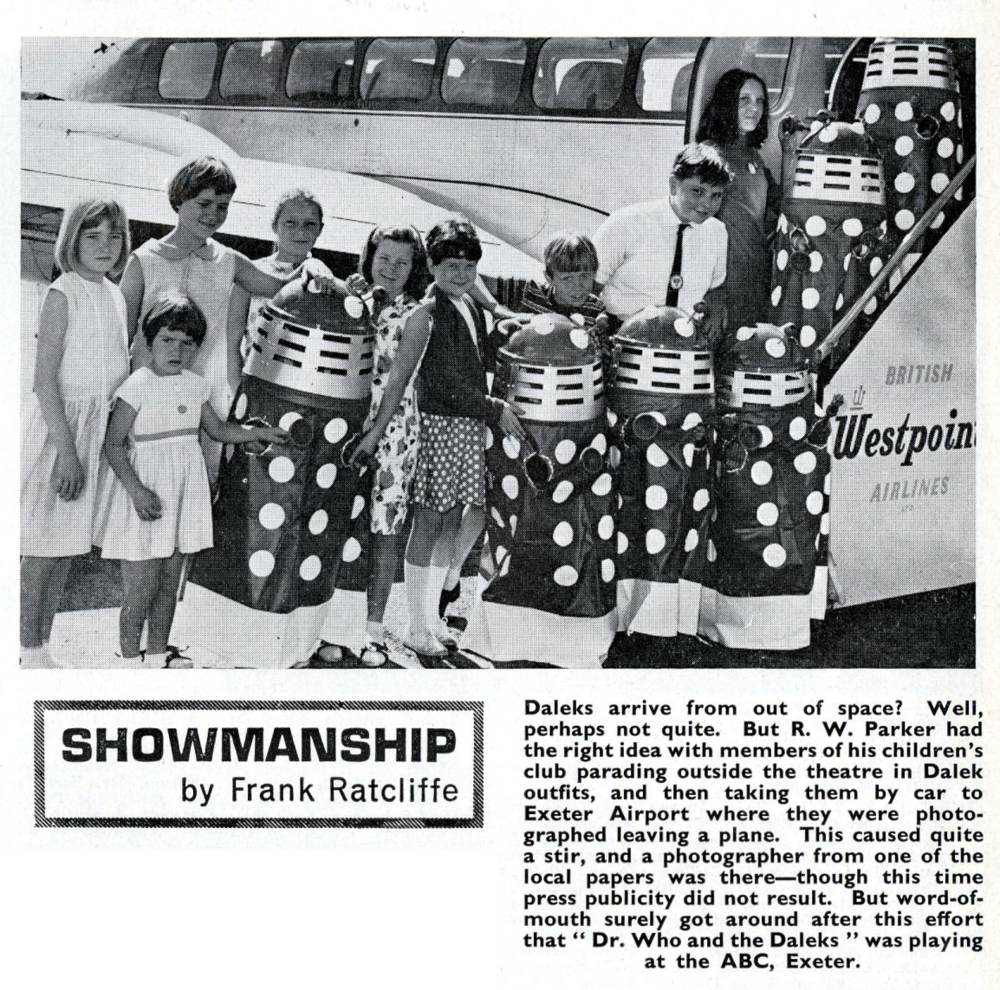 Article on promotion of the Dr. Who and the Daleks film in Kine Weekly, 14 October 1965, using Dalek playsuits from Berwick's Toy Company Ltd.