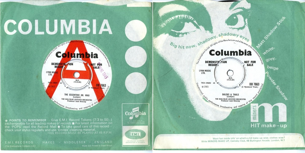Columbia Records, EMI Records Ltd., The Malcolm Lockyer Orchestra, The Eccentric Dr. Who (b/w  Daleks & Thals), (demonstration record)