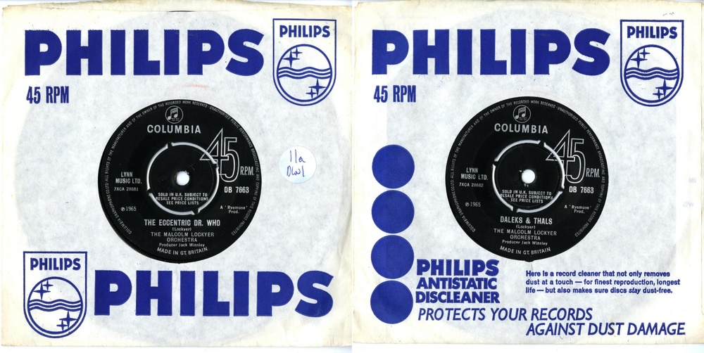 Columbia Records, EMI Records Ltd., The Malcolm Lockyer Orchestra, The Eccentric Dr. Who (b/w Daleks & Thals), (catalogue no. DB 7663)