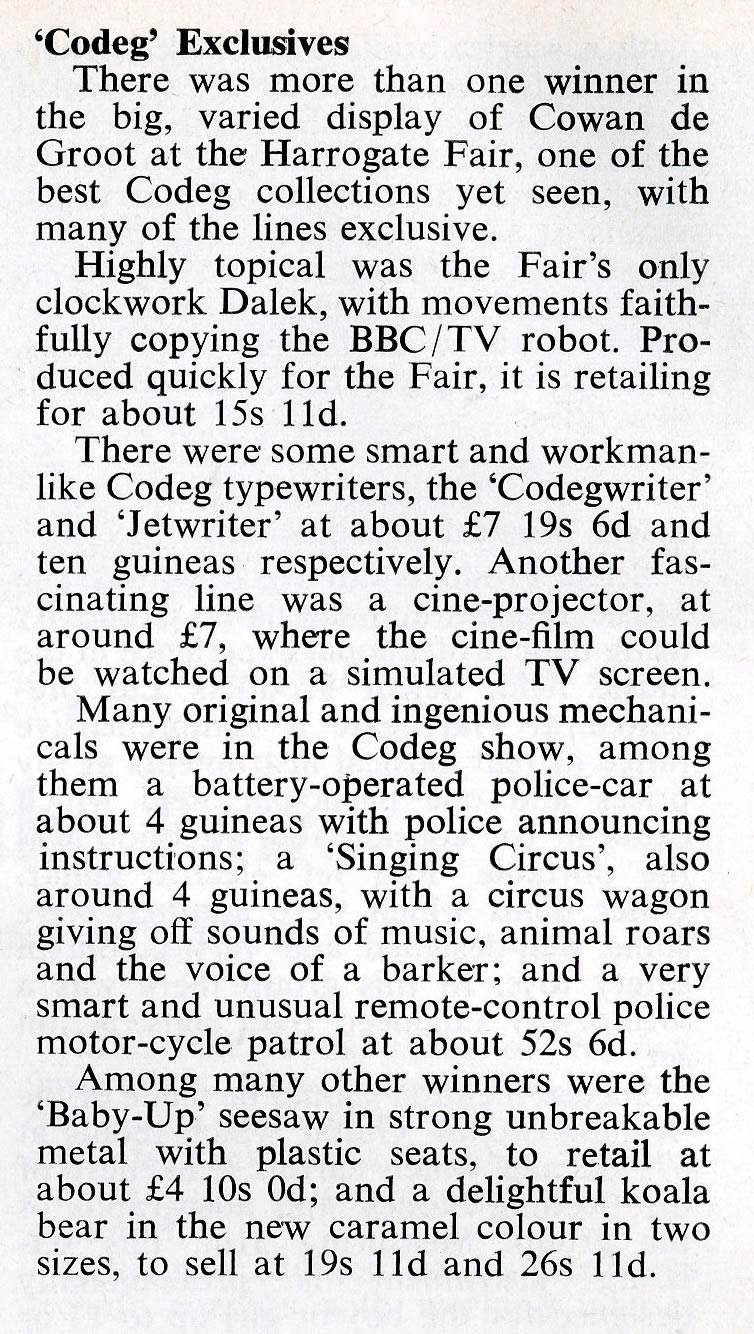 Article in Games & Toys, March 1965 about the introduction of the Codeg clockwork Dalek