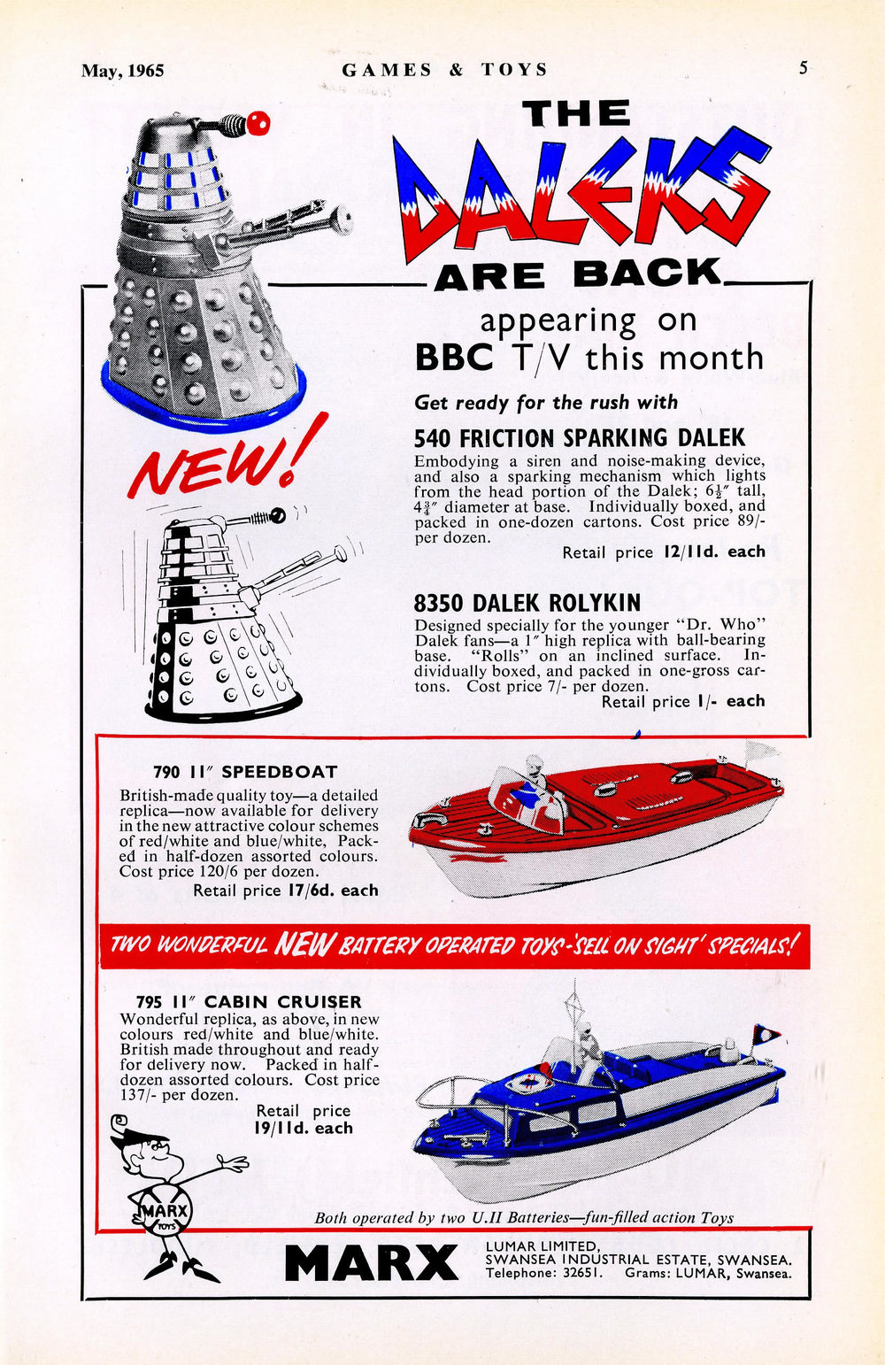 Games & Toys, May 1965, ad. for Louis Marx and Company Ltd. featuring friction-drive Daleks and Dalek Rolykins