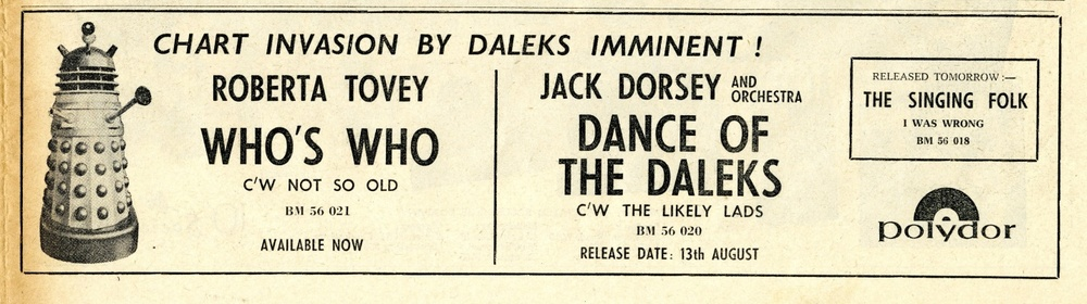 Record Retailer, 5 August 1965, ad. for Polydor release of Who's Who and Dance of the Daleks